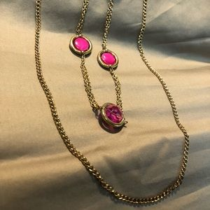 Jewelry - Gold and Pink chain and bead necklace